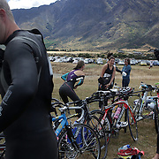 Competitors prepare for competition during the Active Q T Ultimate Tri Series Jack's Point Triathlon, Jack's Point,  Queenstown, Otago, New Zealand. 14th January 2012. Photo Tim Clayton