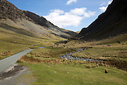 Road through Honister Pass, Lake District national park, Cumbria, England, UK