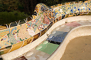 Antoni Gaudi's classic Parque Güell is decorated with ceramic pieces arranged organically and geometrically, Carmel Hill, Barcelona, Catalunya<br /> The park was built from 1900 to 1914 and was officially opened as a public park in 1926. In 1984, UNESCO declared the park a World Heritage Site