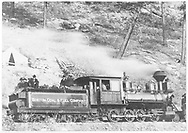 "Boston Coal and Fuel Co. Consolidation #1 with flat cars loaded with excursioners on the occasion of the coal mine railroad's opening day.<br /> Boston Coal & Fuel  Perins Peak (later Calumet Branch), CO  Taken by Gonnen, Frank - 11/25/1901<br /> In book ""RGS Story, The Vol. XI: Durango and the Perins Peak Branch"" page 328<br /> Also in ""Narrow Gauge Country 1870-1970"", p. 193; ""The Rio Grande Southern Story"", p. 76 and p. 154; ""Colorado's Mountain Railroads"", p. 29 and ""Rio Grande ? to the Pacific"", p. 281.<br /> Thanks to Don Bergman for additional information."