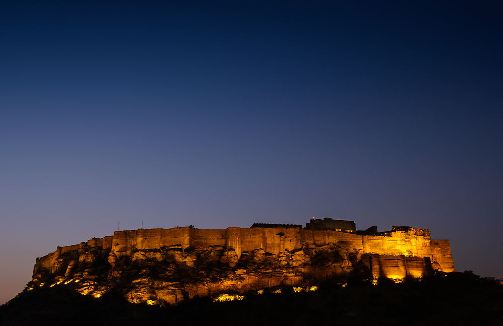 JODHPUR, INDIA - CIRCA NOVEMBER 2016:  Panoramic view of Mehrangarh Fort at night in Jodhpur