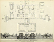 Copperplate engraving of Plan and Elevation of a Roman Villa From the Encyclopaedia Londinensis or, Universal dictionary of arts, sciences, and literature; Volume II;  Edited by Wilkes, John. Published in London in 1810