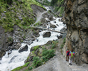 Walk through the deeply glaciated valley of Gasterntal (or Gasteretal or Gasterental) to explore the headwaters of the Kander River. A nice 7 km walk with 390 m gain up to Selden starts from the bus stop for Luftseilbahn Kandersteg-Sunnbüel. From Selden, take Postbus back (reservations required) to Kandersteg hauptbahnhof. Gasterntal is in the canton of Bern, Switzerland, Europe.
