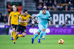 February 11, 2019 - Wolverhampton, England, United Kingdom - DeAndre Yedlin of Newcastle United gets away from Joao Moutinho of Wolverhampton Wanderers during the Premier League match between Wolverhampton Wanderers and Newcastle United at Molineux, Wolverhampton on Monday 11th February 2019. (Credit Image: © Mi News/NurPhoto via ZUMA Press)