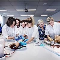 Nederland, Alkmaar , 6 februari 2013..Praktijkles in medisch centrum Alkmaar (Foreest Medical Center). in Skillslab.Algemeen verpleegkundigen oefenen hun vaardigheden op het gebied van het aanbrengen van een infuusnaald, katheteriseren van mannen verzorgd door een uroloog of het inbrengen van een maagsonde (links achtergrond).Foto:Jean-Pierre Jans