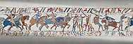 Bayeux Tapestry scene 56: Norman caalry breaks through Saxon lines and Harolds army is slaughtered. .<br /> <br /> If you prefer you can also buy from our ALAMY PHOTO LIBRARY  Collection visit : https://www.alamy.com/portfolio/paul-williams-funkystock/bayeux-tapestry-medieval-art.html  if you know the scene number you want enter BXY followed bt the scene no into the SEARCH WITHIN GALLERY box  i.e BYX 22 for scene 22)<br /> <br />  Visit our MEDIEVAL ART PHOTO COLLECTIONS for more   photos  to download or buy as prints https://funkystock.photoshelter.com/gallery-collection/Medieval-Middle-Ages-Art-Artefacts-Antiquities-Pictures-Images-of/C0000YpKXiAHnG2k