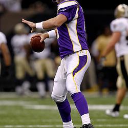September 9, 2010; New Orleans, LA, USA; Minnesota Vikings quarterback Brett Favre (4) during warm ups prior to kickoff of the NFL Kickoff season opener at the Louisiana Superdome. The New Orleans Saints defeated the Minnesota Vikings 14-9.  Mandatory Credit: Derick E. Hingle