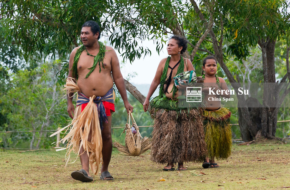 Yapese family in traditional clothing at Yap Day Festival, Yap Island, Federated States of Micronesia