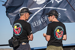 Ex senator Bob Brown chats with Sea Shepherd's Australian director, Jeff Hansen,  onboard the vessel Steve Irwin during Operation Kimberley Miinimbi.