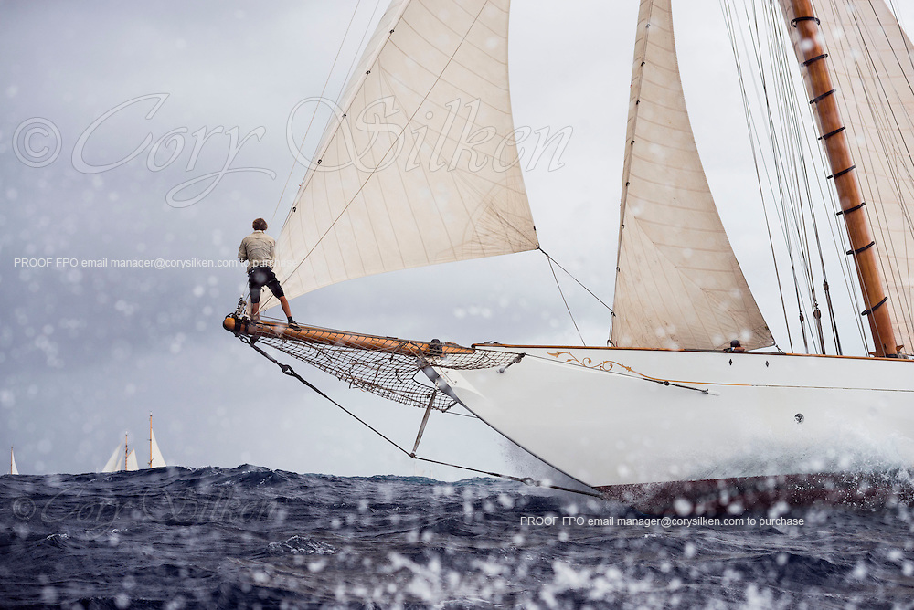 Thendara sailing in the Antigua Classic Yacht Regatta, Butterfly Race.