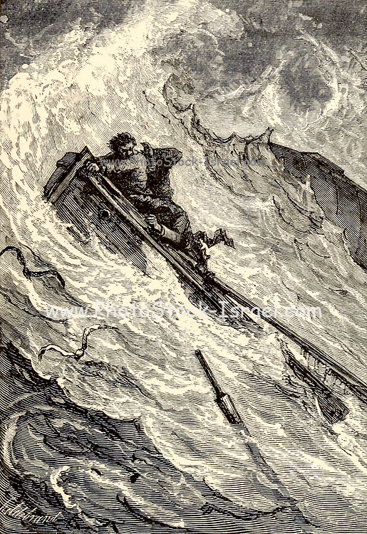 The boat was hurled like a stone from a sling into the whirlpool From the Book Twenty thousand leagues under the seas, or, The marvelous and exciting adventures of Pierre Aronnax, Conseil his servant, and Ned Land, a Canadian harpooner by Verne, Jules, 1828-1905 Published in Boston by J.R. Osgood in 1875
