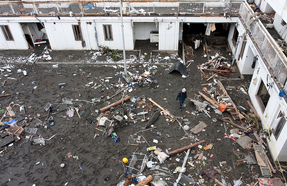 Effects of the tsunami that struck the north east coast of Japan after the earthquake on March 11th. Kamaishi, Iwate, Japan. March 17th 2011