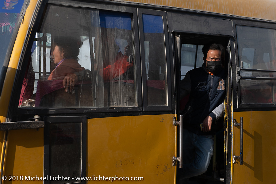 Local bus in Kathmandu after our Himalayan Heroes motorcycling adventure, Nepal. Saturday, November 17, 2018. Photography ©2018 Michael Lichter.