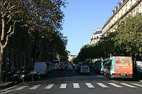 Traffic on Av Victoria, Paris France. View from Place de L'Hotel de Ville<br />