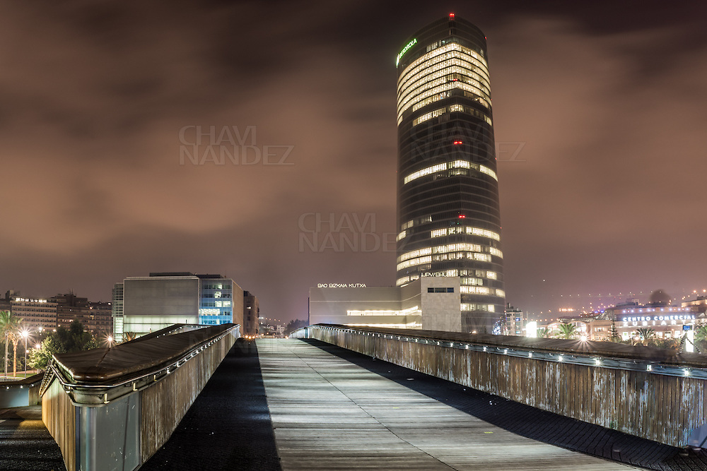 Iberdrola tower by night. Bilbao, Basque Country, Spain