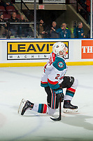 KELOWNA, CANADA - JANUARY 9:  Lassi Thomson #2 of the Kelowna Rockets kneels on the ice after scoring a goal with a slapshot from the point against the Everett Silvertips on January 9, 2019 at Prospera Place in Kelowna, British Columbia, Canada.  (Photo by Marissa Baecker/Shoot the Breeze)