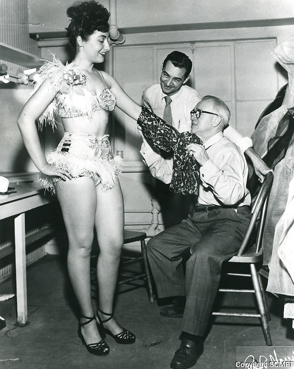 1948 Costume fitting at the Earl Carroll Theater