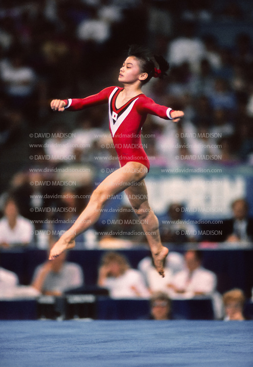 SEATTLE - JULY 1990:  Mari Kosuge of Japan performs in the floor exercise during the gymnastics competition of the 1990 Goodwill Games held from July 20 - August 5, 1990.  The gymnastics venue was the Tacoma Dome in Tacoma, Washington.  (Photo by David Madison/Getty Images)