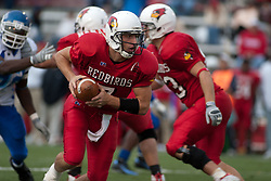 12 November 2005: Redbird Quarterback Luke Drone escapes the pocket on a QB keeper. Illinois State Redbirds topple the Indiana State Sycamore 70-28 at Hancock Stadium in Normal Illinois