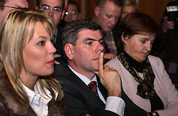 BRUSSELS, BELGIUM - NOV-9-2004 - Belgian Court of Appeals decision in the trial against the Flemish extreme right political party Vlaams Blok. (PHOTO © JOCK FISTICK)..Anke Vandermeersch - Filip Dewinter<br />