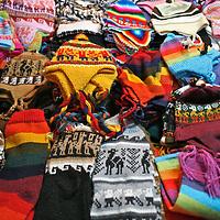 Americas, South America, Peru, Pisac. Wool knit items at Pisac market.