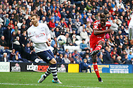 Sammy Ameobi of Cardiff City ® shoots at goal but sees his shot saved. Skybet football league championship match, Preston North End v Cardiff City at the Deepdale stadium in Preston, Lancashire on Saturday 17th October 2105.<br /> pic by Chris Stading, Andrew Orchard sports photography.