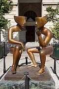 Sculpture 'la conversation' by Etienne, in Plaza de San Francisco, San Francisco square, Havana old town.