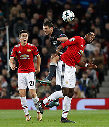 Manchester United's Paul Pogba (right) and CSKA Moscow's Alan Dzagoev battle for the ball during the UEFA Champions League match at Old Trafford, Manchester.