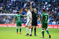 Referee shows yellow carpet to Real Madrid's player Cristiano Ronaldo during a match of La Liga at Santiago Bernabeu Stadium in Madrid. November 06, Spain. 2016. (ALTERPHOTOS/BorjaB.Hojas)