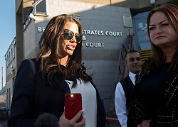 Katie Price (left) outside Bexley Magistrates' Court following her drink driving trial where she was banned from driving for three months, adding to the ban from earlier this year for driving while disqualified.