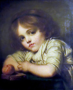 Painting called 'A Child with an Apple' 1802. Jean Bapiste Greuze