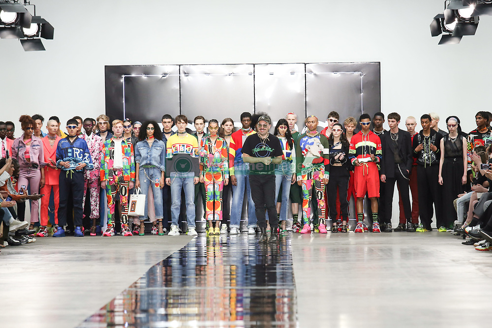 June 8, 2019 - London, England, United Kingdom - Designer thanks the public after presentation of a new Spring/Summer 2020 Iceberg collection during London Fashion Weak Men's in the old Truman's Brewery show space in London on the June 8, 2019. (Credit Image: © Dominika Zarzycka/NurPhoto via ZUMA Press)