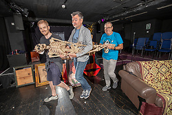 Ruaraidh Murray, Grant Stott and Andy Gray at the Gilded Balloon Rose Theatre, rehearse for their new play The Junkies.
