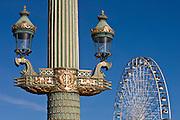 Streetlight and Place de la Concorde ferris wheel, Paris, France