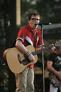 Weezer featuring Rivers Cuomo (lead vocals, guitar), Patrick Wilson (drums, guitar, backing vocals), Brian Bell (guitar, backing vocals, keyboards), and Scott Shriner (bass, backing vocals, keyboards) performs on the third day of the 2010 Bonnaroo Music & Arts Festival on June 12, 2010 in Manchester, Tennessee. The four-day music festival features a variety of musical acts, arts and comedians..Photo by Bryan Rinnert/3Sight Photography