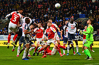 Fleetwood Town's Danny Andrew heads at goal<br /> <br /> Photographer Richard Martin-Roberts/CameraSport<br /> <br /> The EFL Sky Bet League One - Bolton Wanderers v Fleetwood Town - Saturday 2nd November 2019 - University of Bolton Stadium - Bolton<br /> <br /> World Copyright © 2019 CameraSport. All rights reserved. 43 Linden Ave. Countesthorpe. Leicester. England. LE8 5PG - Tel: +44 (0) 116 277 4147 - admin@camerasport.com - www.camerasport.com
