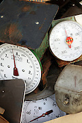 traditional style weighing scales that are being trashed