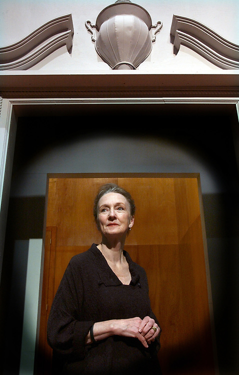 """Arts4/12/06 1Chalfant<br /> Actress Kathleen Chalfant on the set of Yale Rep's """"All's Well that Ends Well."""" Photo by Mara Lavitt"""