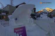 Snow sculptures during Snow Days in downtown Banff, Alberta, Canada