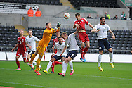 Gwion Edwards of Wales (7)  scores his sides 1st goal to make it 1-1. UEFA 2015 European U21 championship, group one qualifier , Wales u21 v England u21 at the Liberty Stadium in Swansea, South Wales on Monday 19th May 2014. <br /> pic by Andrew Orchard, Andrew Orchard sports photography.