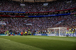 July 1, 2018 - Moscow, Russia - FIFA World Cup 2018. Russia defeated Spain.  Rysslands Igor Akinfeev räddar den avgörande straffen som Spaniens Lago Aspas lägger. Fotbolls-VM, match 51, Spanien - Ryssland, Luzhniki stadium, Moscow, Russia  (Credit Image: © Orre Pontus/Aftonbladet/IBL via ZUMA Wire)