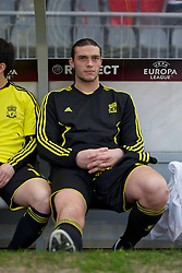 BRAGA, PORTUGAL, Thursday, March 10, 2011: Liverpool's Andy Carroll starts the game on the bench as a substitute against Sporting Clube de Braga during the UEFA Europa League Round of 16 1st leg match at the Estadio Municipal de Braga. (Photo by David Rawcliffe/Propaganda)