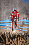SHOT 1/12/14 2:50:19 PM - Meredith Miller (#3) of Boulder, Co. competes in the Women's Elite race at the 2014 USA Cycling Cyclo-Cross National Championships at Valmont Bike Park in Boulder, Co. Miller finished third in the race with a time of 43:55. (Photo by Marc Piscotty / © 2014)