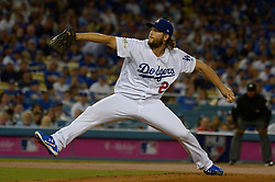 October 6, 2017 - Los Angeles, California, U.S. - Los Angeles Dodgers starting pitcher Clayton Kershaw throws to the plate against the Arizona Diamondbacks in the first inning of a National League Divisional Series baseball game at Dodger Stadium on Friday, Oct. 06, 2017 in Los Angeles. (Photo by Keith Birmingham, Pasadena Star-News/SCNG) (Credit Image: © San Gabriel Valley Tribune via ZUMA Wire)