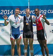 Aiguebelette, FRANCE  Men's single sculls medals. left Silver Medal CZE. M1XOndjj SYNEK,  centre NZL M1X, Mahe DRYSDALE and right, Bronze Medal, CUB M1X. Angel FOURNIER RODRIGUEZ.  at the 2014 FISA World Cup II. 14:14:57  Sunday  22/06/2014. [Mandatory Credit; Peter Spurrier/Intersport-images]