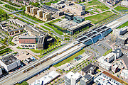 Nederland, Flevoland, Lelystad, 08-09-2009. Centrum Lelystad, NS station en Provinciehuis.<br /> Lelystad city centre with railway station.<br /> luchtfoto (toeslag op standard tarieven);<br /> aerial photo (additional fee required);<br /> copyright foto/photo Siebe Swart