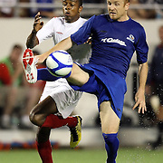 Pittsburgh Riverhounds midfielder Louis Rolko keeps the ball from Orlando City Lions Forward Dennis Chin (15) during a United Soccer League Pro soccer match between the Pittsburgh Riverhounds and the Orlando City Lions at the Florida Citrus Bowl on May 14, 2011 in Orlando, Florida. Orlando won the game 1-0. (AP Photo/Alex Menendez)