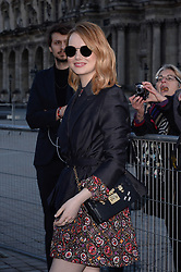 Emma Stone arriving at the Louis Vuitton show as part of the Paris Fashion Week Womenswear Fall/Winter 2018/2019 in Paris, France on March 6, 2018. Photo by Julien Reynaud/APS-Medias/ABACAPRESS.COM