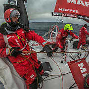 Leg 3, Cape Town to Melbourne, day 11, Willy Altadill, Sophie Ciszek and Xabi Fernandez on board MAPFRE. Photo by Jen Edney/Volvo Ocean Race. 20 December, 2017.