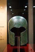 Greek Corinthian bronze helmet, seventh century BC, archaeology museum, Jerez de la Frontera, Cadiz Province, Spain
